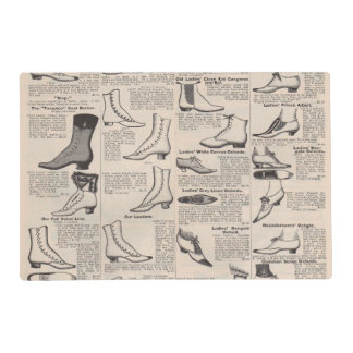 Antique shoes newspaper advertising placemat