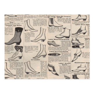 Antique shoes newspaper advertising postcard