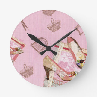 Antique Shoes_Pink Round Clock