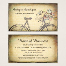 Antique Shop Vintage Restoration Floral Bicycle Business Card at Zazzle