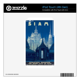 Antique Siam Bangkok Temples Travel Poster Decals For iPod Touch 4G