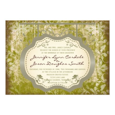 Antique Sign Country Distressed Wedding Invitation
