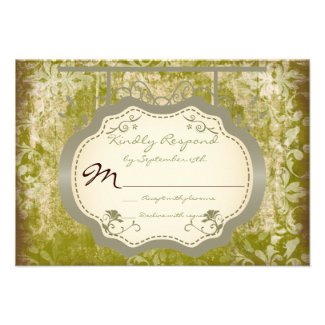 Antique Sign Country Distressed Wedding RSVP Cards