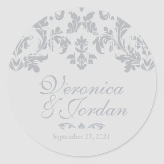 Antique Silver Custom Wedding Stickers