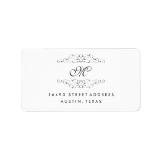 Antique Silver Flourish Monogram Address Labels