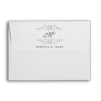 Antique Silver Flourish Monogram Wedding Envelopes