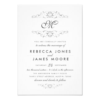 Antique Silver Flourish Monogram Wedding Invite