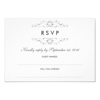Antique Silver Flourish Wedding RSVP Card