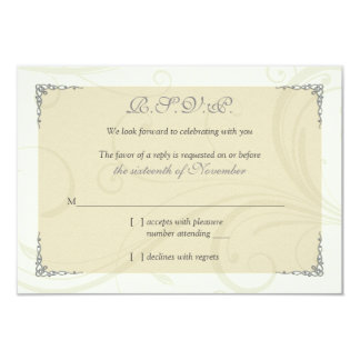Antique Silver Gold Celtic Knot Wedding Reply Card
