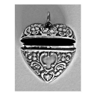 Antique silver heart Valentines Day Postcard