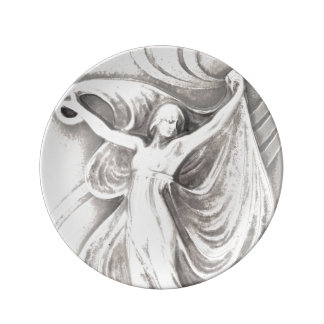 Antique Silver Lady Dancer Art Nouveau Vintage Porcelain Plate