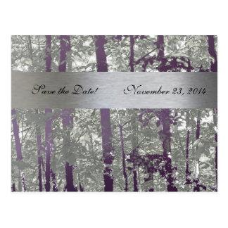 Antique Silver Lapis Metallic Trees Save the Date Postcard