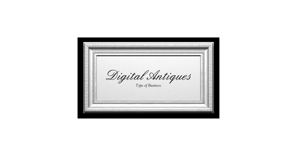Antique silver picture frame business card zazzle for Business card picture frame