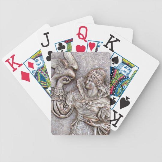 Antique Silver Repousse Lady Bird Vintage Jewelry Bicycle Playing Cards