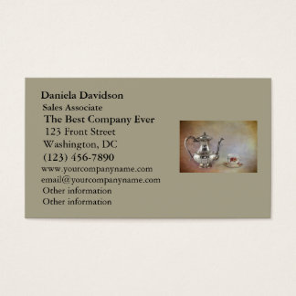 Antique Silver Tea Pot and Bone China Cup Business Card