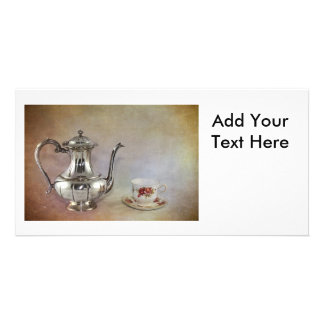 Antique Silver Tea Pot and Bone China Cup Card