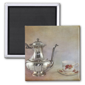 Antique Silver Tea Pot and Bone China Cup 2 Inch Square Magnet
