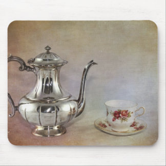 Antique Silver Tea Pot and Bone China Cup Mousepads