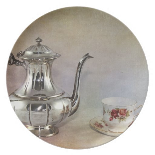 Antique Silver Tea Pot and Bone China Cup Plates