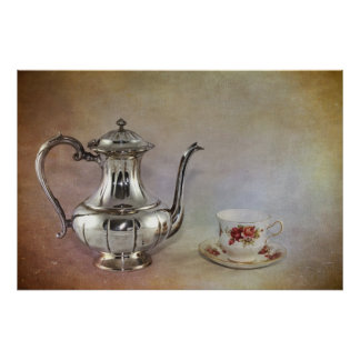Antique Silver Tea Pot and Bone China Cup Poster