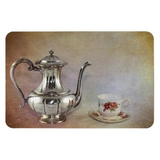 Antique Silver Tea Pot and Bone China Cup Rectangular Photo Magnet
