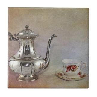 Antique Silver Tea Pot and Bone China Cup Tile