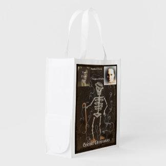 Antique Skeleton  2 Photo Customizable Grocery Bag