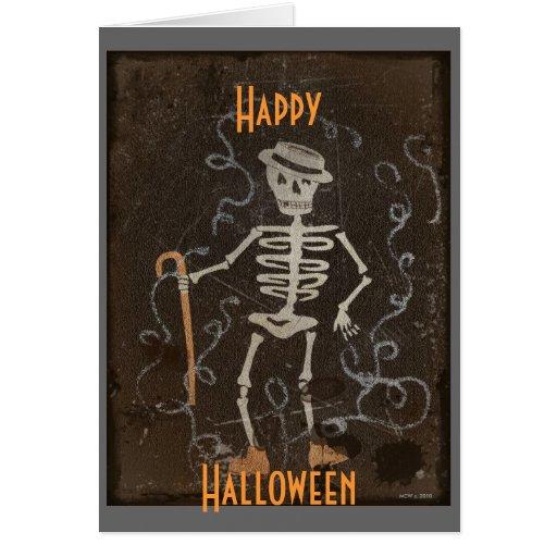 Antique Skeleton Halloween Greeting Card