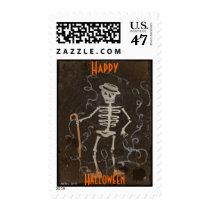 Antique Skeleton Halloween/Samhain Postage