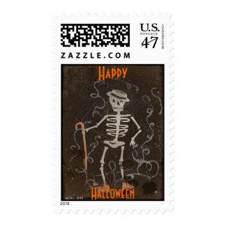 Antique Skeleton Halloween/Samhain Postage Stamp