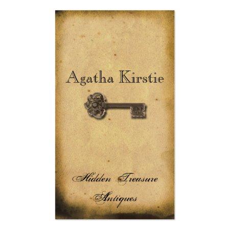 Elegant Antique Skeleton Key on Old Parchment Paper Business Cards