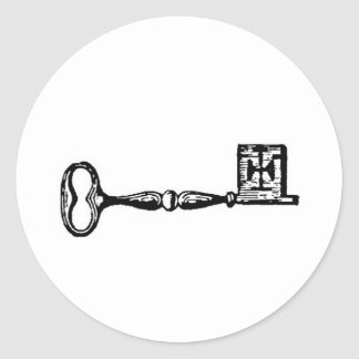 Antique skeleton key engraving classic round sticker