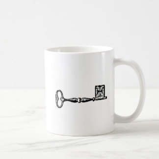 Antique skeleton key engraving coffee mug