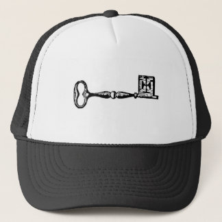 Antique skeleton key engraving trucker hat