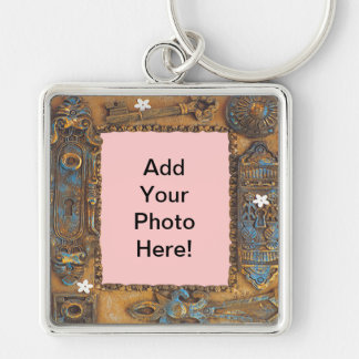 Antique Skeleton Key Frame Add Your Own Photo Key Chains