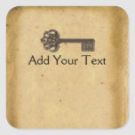 Antique Skeleton Key Square Sticker