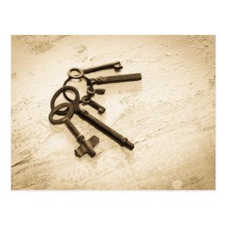 Antique Skeleton Keys on Ring Postcard