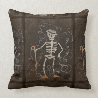 Antique Skeleton Spooky Gothic Monster Throw Pillow