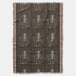 Antique Skeleton Spooky Gothic Monster Throw Blanket