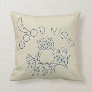 Antique Smiling Moon Cute Good Night Owl on Branch Pillows
