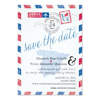 Antique Spain Airmail Save the Date Card