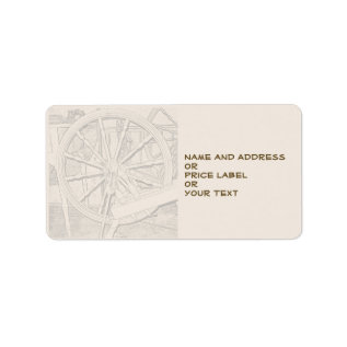 Antique Spinning Wheel Arts Craft Address Price Label at Zazzle