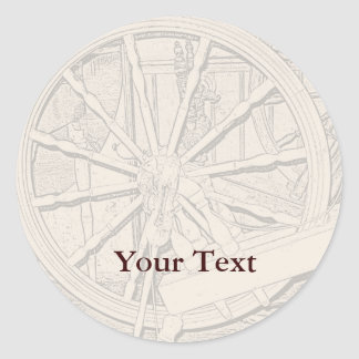 Antique Spinning Wheel Arts Craft Sticker Name Tag
