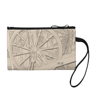 Antique Spinning Wheel Crafts Coin Wallets