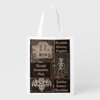 Antique Spooky Gothic Goth Cute Trio Grocery Bag