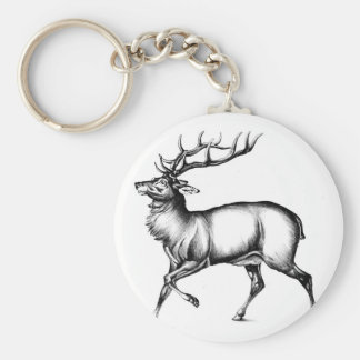 Antique stag art drawing handmade nature basic round button keychain