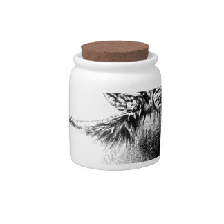 Antique stag art drawing handmade nature candy jar