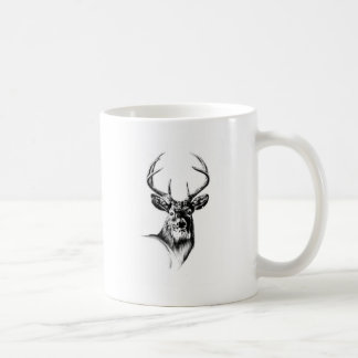 Antique stag art drawing handmade nature classic white coffee mug