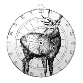 Antique stag art drawing handmade nature dartboard