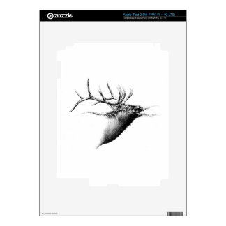 Antique stag art drawing handmade nature iPad 3 decal